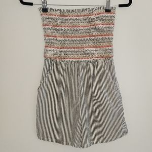 American Eagle Striped Smoked Strapless Romper XS